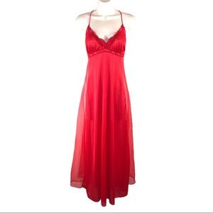 Vintage Beautiful Red Nightgown by Cachet